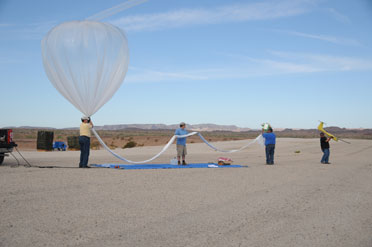 The ADD test crew prepares to launch a weather balloon to carry the Tempest UAV