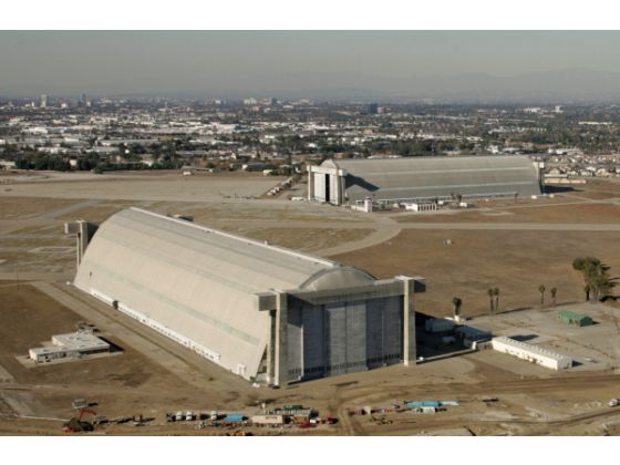 The south hangar, in the foreground, and north hangar sit on the former Tustin Marine base in this 2006 photo. Photo: Jebb Harris OC Register