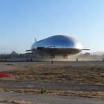 01 The airship hovers near the ground during tethered flight test