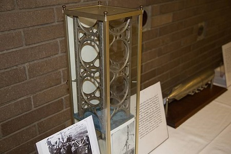 Included in the memorabilia display was a section of one of the girders salvaged from the USS Akron which was lost at sea in April of 1933. The girder was donated to The Lighter-Than-Air Society by Richard Plummer. Photo: Dave Wertz