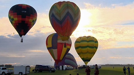 Dozens of balloons were launched from High River on the weekend to compete for the Canadian Championship. Photo: CTV News