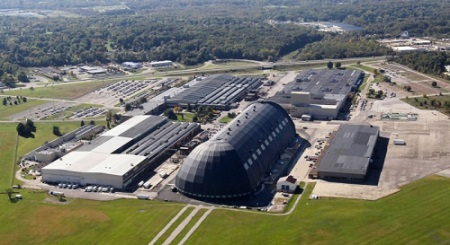 A view of the Lockheed Martin Corp. Akron operations at the former Goodyear Airdock.  Photo: Mike Cardew - Akron Beacon Journal