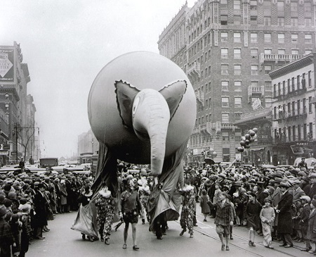 Tony Sarg's Elephant balloon for the 1927 Macy's Christmas Parade. Photo: si.edu