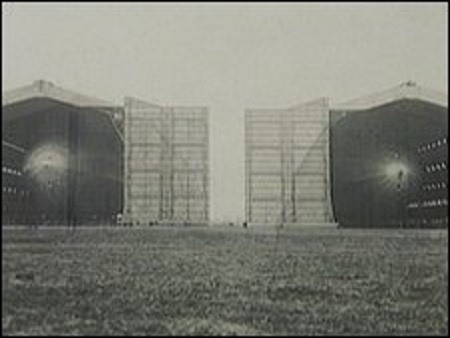 The Cardington hangars were used to house airships.