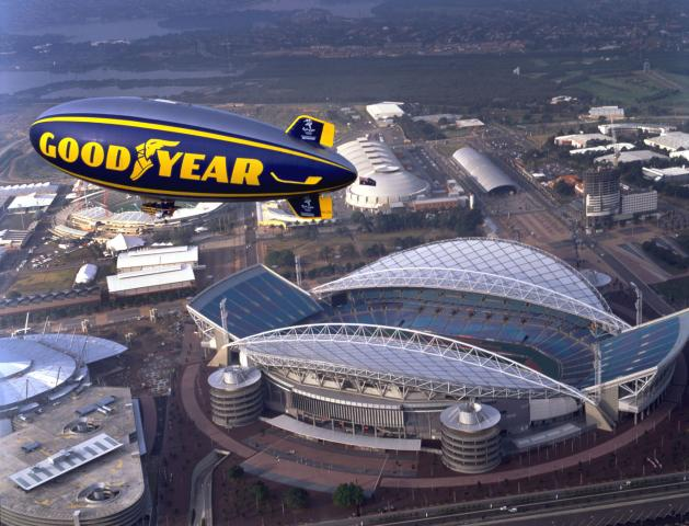 Goodyear's Spirit of the South Pacific flies over one of the venues for the Sideny Olympics in 2000. Photo: Goodyear Tire & Rubber Co.
