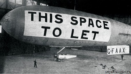 The AD-1 airship in the Cramlington hangar in late 1929. Photo: BBC.co.uk/Flight International