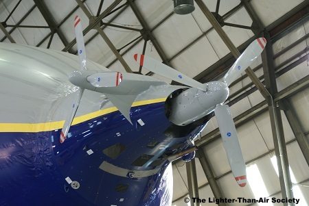 The two propellers are driven off one engine. One helps impel the blimp, the other one assists in steering it