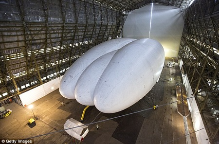 The unusual craft could be used for surveillance, staying airborne for three weeks at a time. Source: Daily Mail UK
