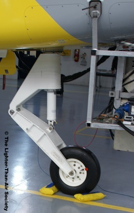 Front landing gear attached to the gondola.