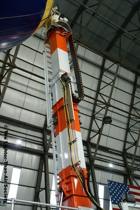 The mast is hydraulically controlled. It is used to secure the blimp safely while it is on the ground.