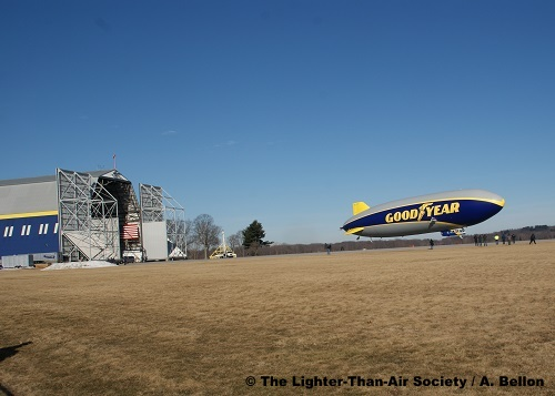 9:58 AM (EDT): The airship begins it maiden flight. Photo: A. Bellon - LTAS