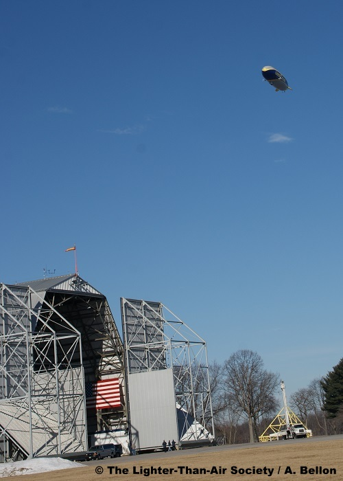 Completing the circle, the new Goodyear Blimp flies over the Wingfoot Lake hangar. Photo: A. Bellon - LTAS