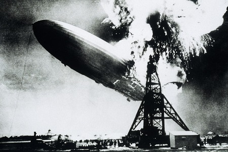 The German Hindenburg, catching fire on May 6, 1937. Photo: Getty Images