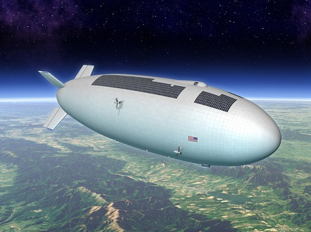 An artist's rendering of a stratospheric airship in flight.  Image: Keck Institute for Space Studies/Eagre Interactive