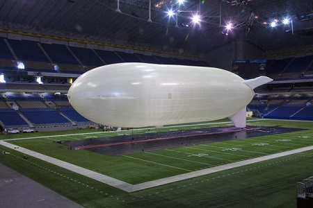 A Hi-Sentinel airship being tested in the Alamodome in San Antonio. When it was first successfully tested, in 2005, military interest was high, but it waned after the end of the Iraq war.  Image: Southwest Research Institute