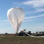 A NASA high-altitude balloon is inflated with helium