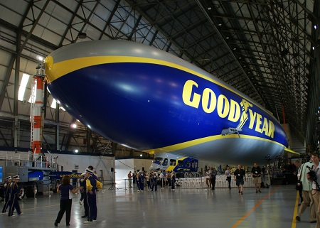 Wingfoot One in hangar prior to the ceremonies. Photo: Alvaro Bellon