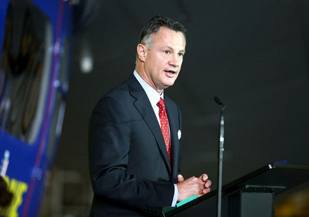 Richard Kramer, CEO of Goodyear addresses the audience. Photo: Cleveland.com (the Plain Dealer).