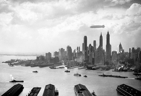 The Hindenburg floats over Manhattan Island in New York City on May 6, 1937, just hours from disaster in nearby New Jersey. Photo: Courtesy AP