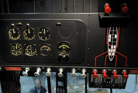 The cockpit control panel inside the Goodyear ZNPK-28 Blimp Control Car. When the restoration began, the interior was stripped. Ther volunteers designed and fabricated accurate reproduction parts to bring the ship back to life.