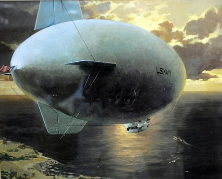 A painting of the 1942 Goodyear ZNPK-28 Blimp. Its Control Car that is undergoing restoration at the New England Air Museum.