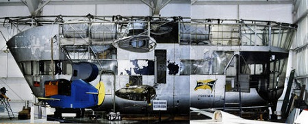This is what the 1942 Goodyear ZNPK-28 Blimp Control Car looked like as the long restoration process began at the New England Air Museum in 1993.