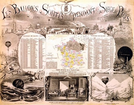 A broadside about ballooning during the Siege of Paris, 1870–1871, with a list of balloons that left the city.