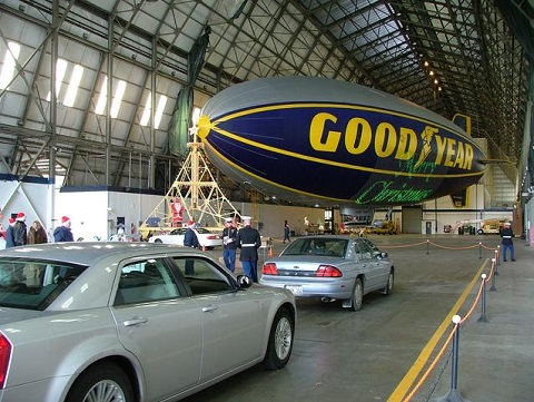 Toys for Tots collection at The Goodyear Tire & Rubber Company's blimp hangar in Suffield Ohio. Photo courtesy of Goodyear Tire 7 Rubber Co.