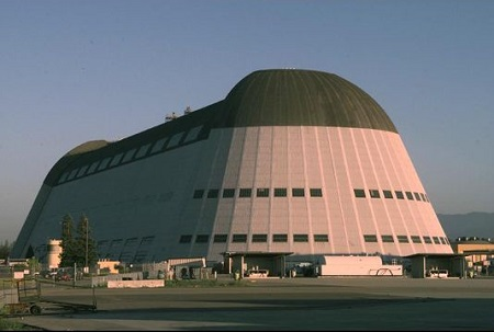 NASA's Hangar One at Moffett Field, Calif., taken in 1999.  Photo: NASA Ames Research Center
