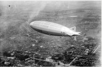 Picture of R101 over Bedford The R101 airship on its test flight over Bedford.