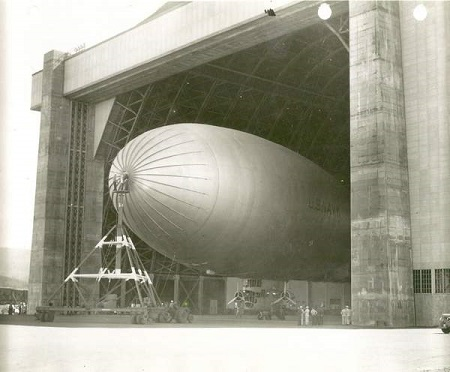 A K Class blimp noses its way out of Tillamook's Hangar B.  Photo courtesy Naval Air Station Tillamook Museum