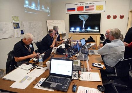 Mission Control members for the Two Eagles balloon flight across the Pacific prepare on Saturday morning for the balloon to launch from Saga, Japan.  Photo: Jim Thompson/Albuquerque Journal