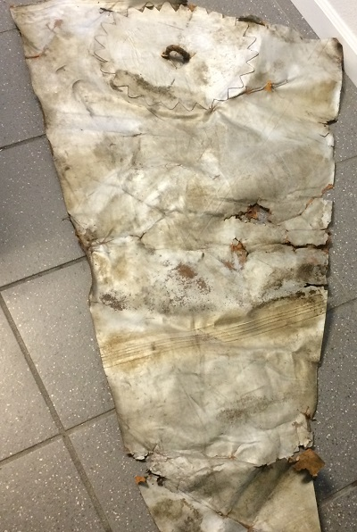 Piece offabric, probably from a 1940's Navy blimp. Photo courtesy Christian Gruling