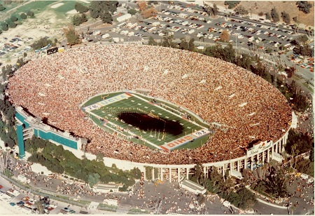 The Goodyear blimp casts a shadow over the 1976 Rose Bowl game between UCLA and Oregon State University. Source: insidesocal.com
