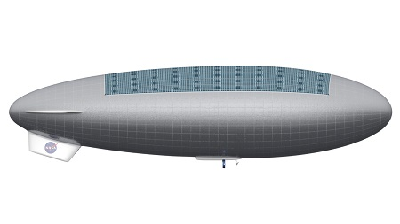 Robotic HAVOC Airship. Side view of a robotic HAVOC airship, which would be considerably smaller than the manned version (102 feet long versus 423 feet long) and lack the habitat and ascent vehicle. Credit: Advanced Concepts Lab at NASA Langley Research Center