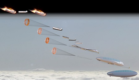 HAVOC Airship Entering Venus Atmosphere. Diagram showing how a HAVOC airship would enter the Venus atmosphere. Credit: Advanced Concepts Lab at NASA Langley Research Center