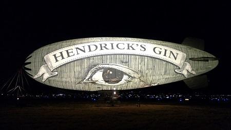 The Hendricks Airship illuminated. Source: Hendrick's Gin