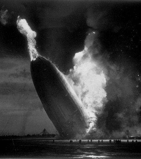 Murray Becker/AP Photo - The Hindenburg burns and falls to the ground at Lakehurst Naval Air Station, N.J., May 6, 1937. Thirty-five of the 97 people on board the German luxury airship were killed. Courtesy of the New York Daily News