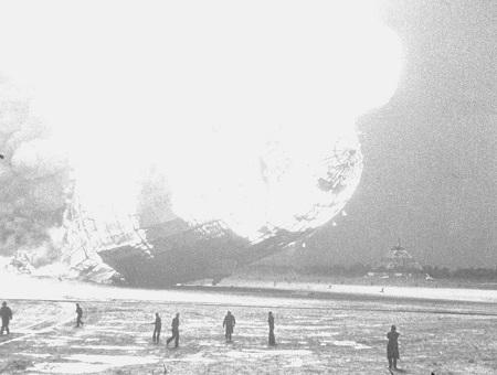 The Hindenburg dirigible explodes over Lakehurst, N.J. Courtesy of the New York Daily News