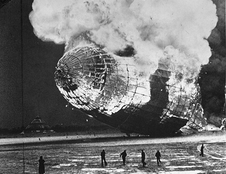 Charles Hoff Photo. Zeppelin disaster, Lakehurst, N.J. Blazing wreck of the Hindenburg after explosion. Courtesy of the New York Daily News
