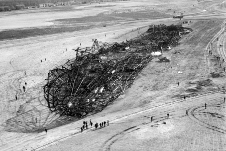 Charles Hoff Photo. The charred wreckage of the Hindenburg dirigible after it exploded and burned. Courtesy of the New York Daily News