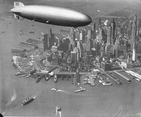 The zeppelin Hindenburg flies over Manhattan. Courtesy of the New York Daily News