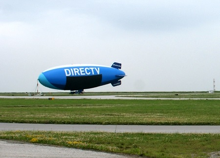 The DirecTV Blimp moored at its mast at the east end of Burke Lakefront Airport in downtown Cleveland
