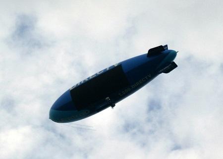 The DirecTV Blimp flying towards Cleveland, Ohio.