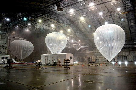 Google Internet balloons being tested at Eglin Air Force Base's McKinley Climatic Laboratory. Photo courtesy of Wired/Google