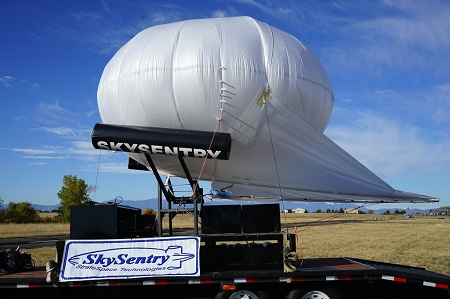 "The ""Tactically Expedient Aerostat,"" or TEA, made by SkySentry LLC in Colorado… more Photo courtesy of SkySentry LLC"