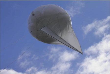 Tactically Expedient Aerostat - 45 cubic meter  - TEA-45. Photo courtesy of SkySentry LLC