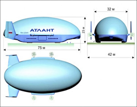 The Atlant-30 will be 75 m (246 ft) long, and will be able to carry a 16 ton payload at speeds of about 170 km/h (106 mph)