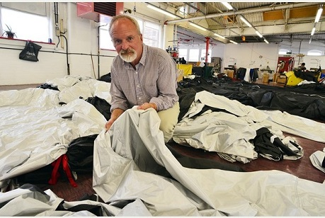 Panels of fabric are sewn together marking the start of production of the solar hybrid hot air balloon at Cameron's Balloons in Bedminster. Pictured - Nick Purvis. Photo by Dan Regan