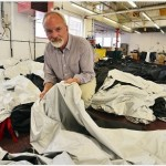 Nick Purvis, of Cameron Balloons, shows the pioneering fabric